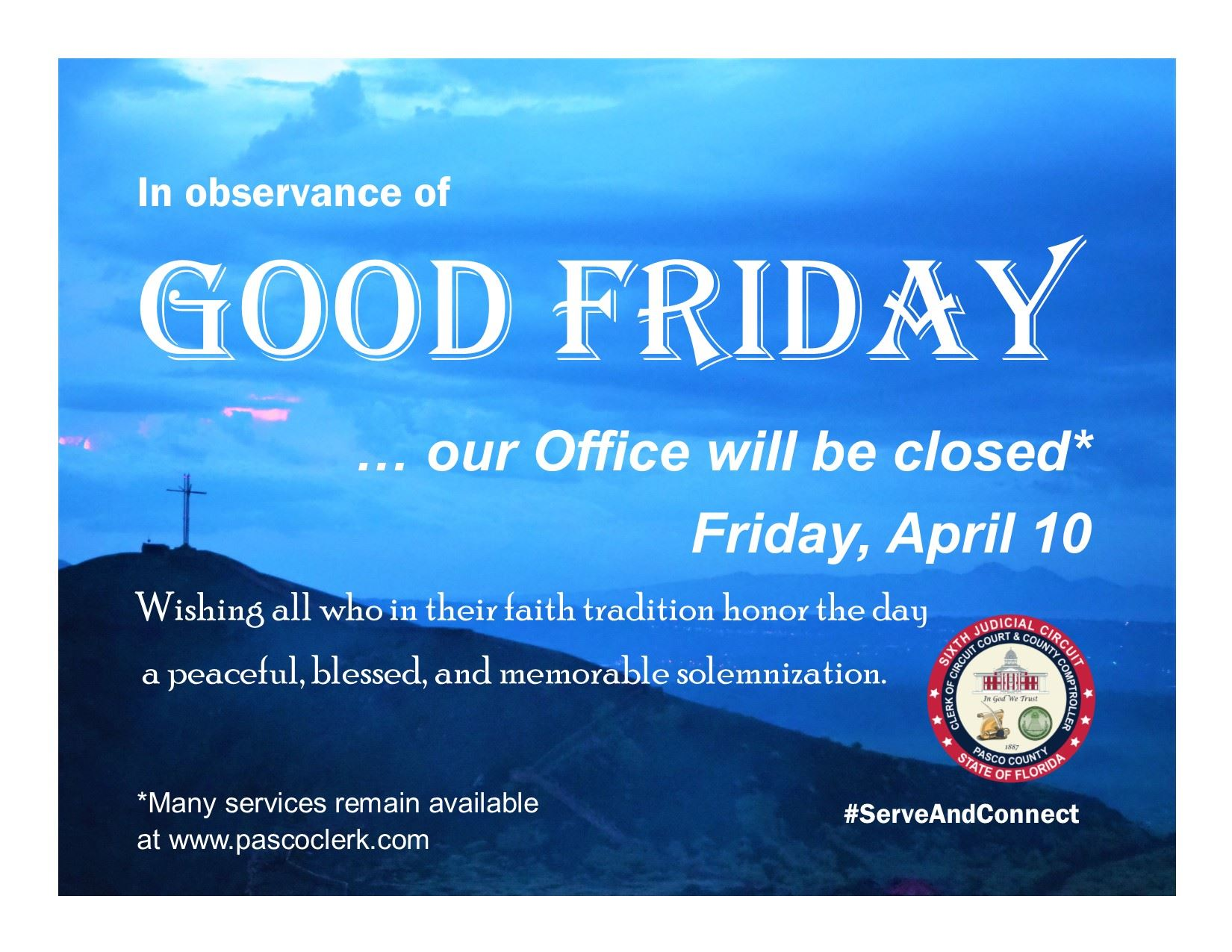 Good Friday notice has a blue sky at sunset overlooking a valley and, in the distance on the left, a