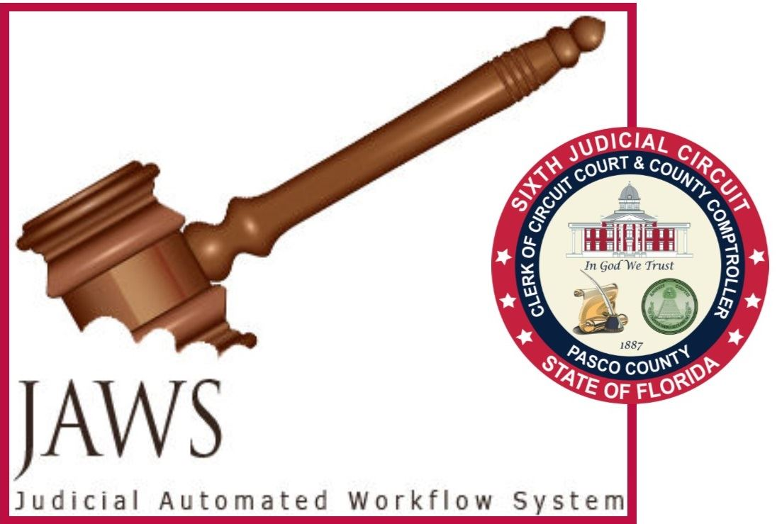 JAWS logo -- a gavel with bite taken out of it -- flanked by clerk seal framed in red box.